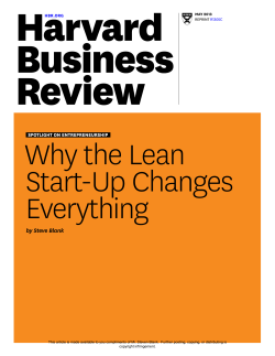 Why the Lean Start-Up Changes Everything by Steve Blank