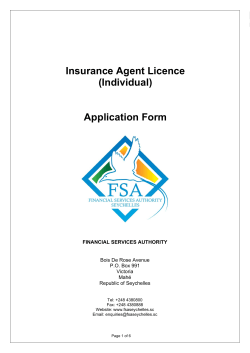 Insurance Agent Licence (Individual) Application Form