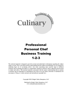Professional Personal Chef Business Training 1-2-3