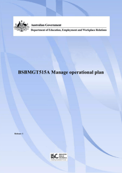 BSBMGT515A Manage operational plan  Release: 1