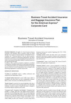 Business Travel Accident Insurance and Baggage Insurance Plan for the American Express®