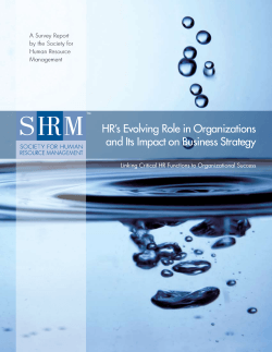 HR's Evolving Role in Organizations and Its Impact on Business Strategy