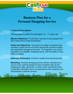 Business Plan for a Personal Shopping Service I. General Description