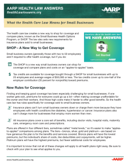 What the Health Care Law Means for Small Businesses HealthLawAnswers.org