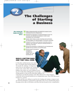 The Challenges of Starting a Business After studying this