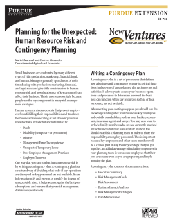 Planning for the Unexpected: Human Resource Risk and Contingency Planning Purdue