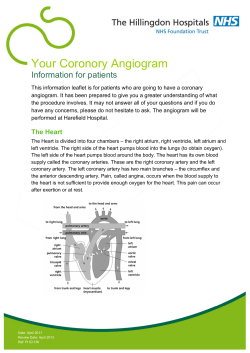 Your Coronory Angiogram Information for patients