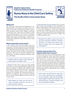 Runny Nose in the Child Care Setting Health & Safety Notes