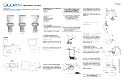 Toilet Installation Instructions RECOMMENDED TOOLS AND MATERIALS