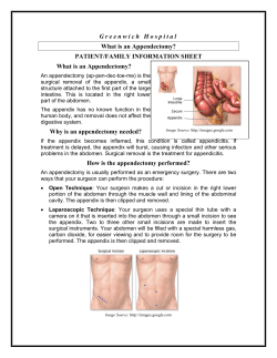 G r e e n w i c h  ... What is an Appendectomy? PATIENT/FAMILY INFORMATION SHEET
