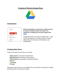 Creating & Sharing Google Docs Introduction
