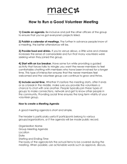 How to Run a Good Volunteer Meeting