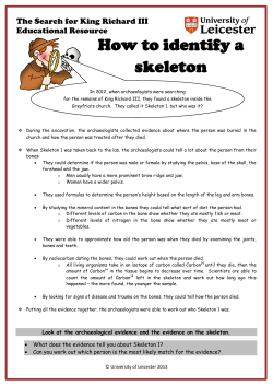 How to identify a skeleton The Search for King Richard III Educational Resource
