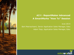 "AC11 - ReportMaker Advanced A SmartMarks ""How To"" Session!"