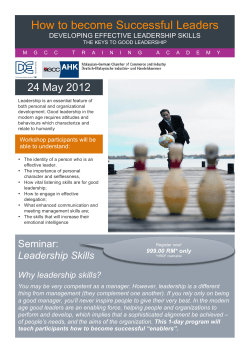 How to become Successful Leaders 24 May 2012