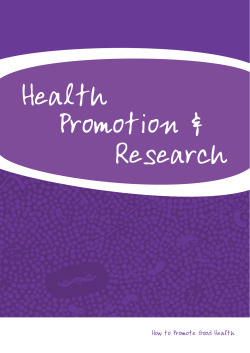 Health Promotion & Research How to Promote Good Health