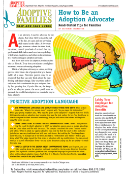 ✁ A How to Be an Adoption Advocate