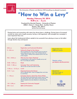 """How to Win a Levy""  Monday, February 24, 2014"