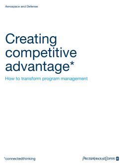 Creating competitive advantage* How to transform program management