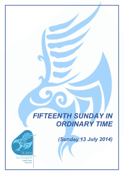 FIFTEENTH SUNDAY IN ORDINARY TIME  (Sunday 13 July 2014)