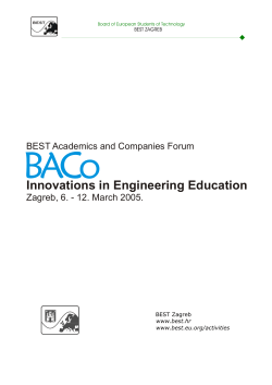 BACo  Innovations in Engineering Education BEST Academics and Companies Forum