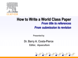 How to Write a World Class Paper  From title to references From
