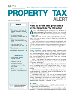 A How to craft and present a winning property tax case INSIDE
