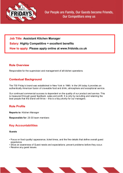 Job Title: Assistant Kitchen Manager Highly Competitive + excellent benefits