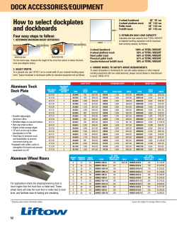Dock AcceSSorieS/equiPMent how to select dockplates and dockboards