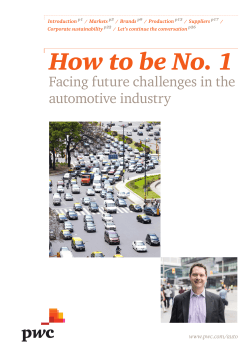 How to be No. 1  Facing future challenges in the automotive industry