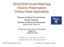 2015/2016 Small Matching Historic Preservation Online Grant Application Bureau of Historic Preservation