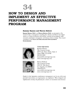 34 HOW TO DESIGN AND IMPLEMENT AN EFFECTIVE PERFORMANCE MANAGEMENT