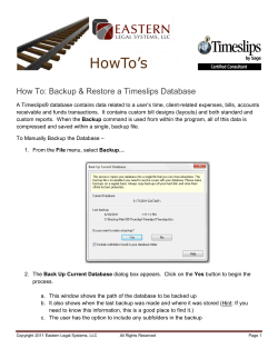 How To: Backup & Restore a Timeslips Database