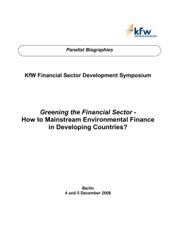 Greening the Financial Sector - How to Mainstream Environmental Finance