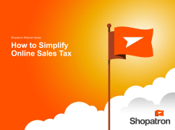 How to Simplify Online Sales Tax Shopatron Webinar Series