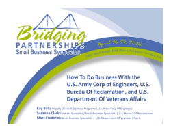 How To Do Business With the  U.S. Army Corp of Engineers, U.S.  Bureau Of Reclamation, and U.S.  Department Of Veterans Affairs