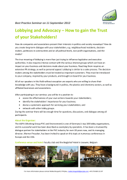 Lobbying and Advocacy – How to gain the Trust