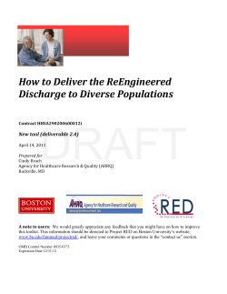 DRAFT    How to Deliver the ReEngineered  Discharge to Diverse Populations