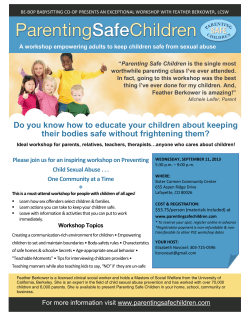 A workshop empowering adults to keep children safe from sexual... , Parenting Safe Children worthwhile parenting class I've ever attended.