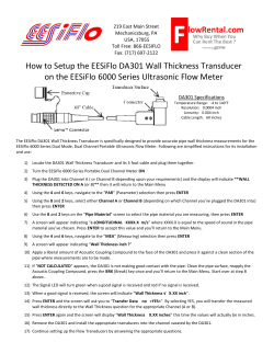 How to Setup the EESiFlo DA301 Wall Thickness Transducer