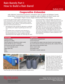 Rain Barrels Part I: How to Build a Rain Barrel Cooperative Extension