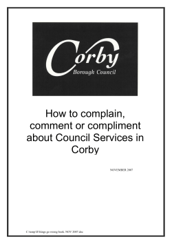 How to complain, comment or compliment about Council Services in Corby