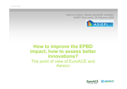 How to improve the EPBD impact, how to assess better innovations?