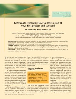 Grassroots research: How to have a stab at