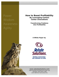 How to Boost Profitability  www.astutesolutions.com By Leveraging Contact