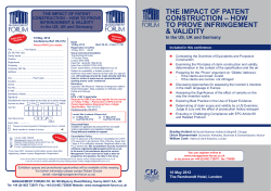 THE IMPACT OF PATENT CONSTRUCTION – HOW TO PROVE INFRINGEMENT & VALIDITY