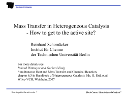 Mass Transfer in Heterogeneous Catalysis  Reinhard Schomäcker