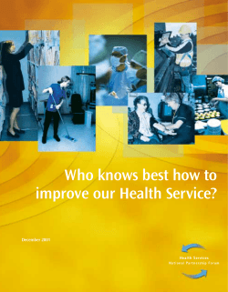 Who knows best how to improve our Health Service? December 2001