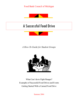 A Successful Food Drive Food Bank Council of Michigan