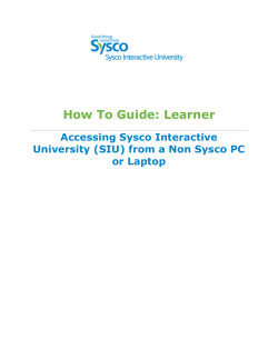 How To Guide: Learner Accessing Sysco Interactive